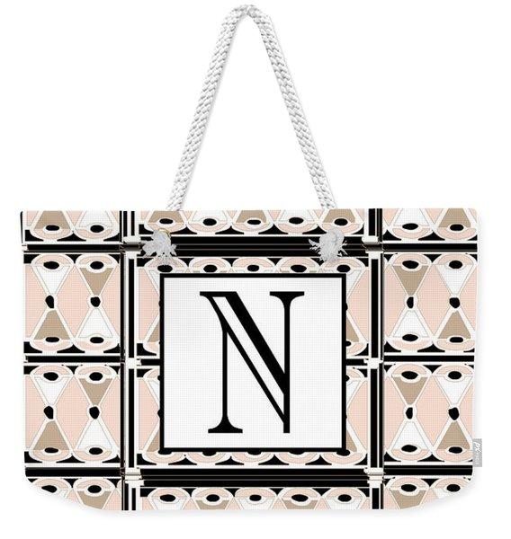Pink Champagne Deco Monogram  N Weekender Tote Bag