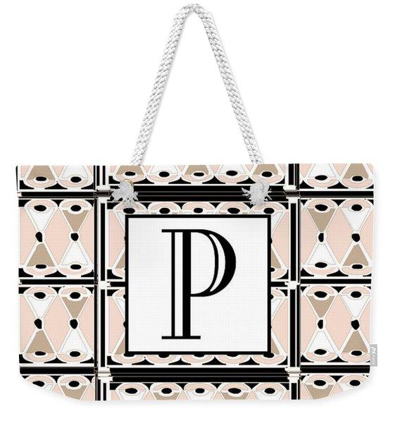Pink Champagne Deco Monogram  P Weekender Tote Bag