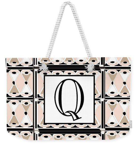 Pink Champagne Deco Monogram  Q Weekender Tote Bag
