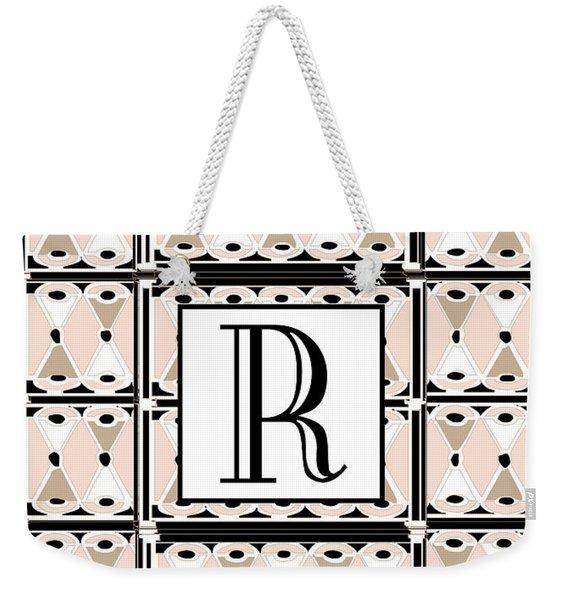Pink Champagne Deco Monogram  R Weekender Tote Bag