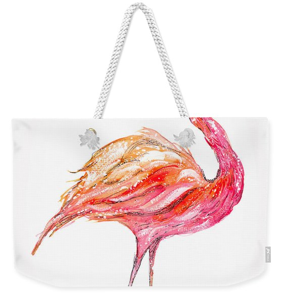 Pink Flamingo Bird Weekender Tote Bag