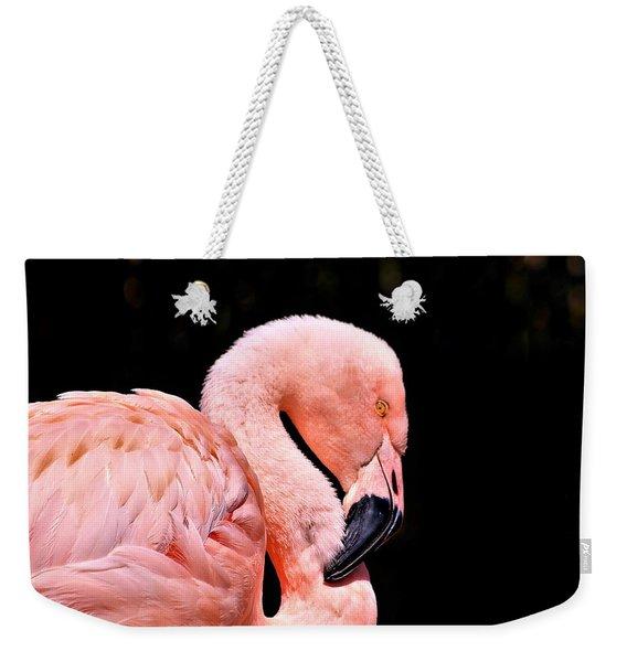 Pink Flamingo On Black Weekender Tote Bag