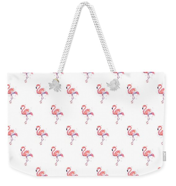Pink Flamingo Watercolor Pattern Weekender Tote Bag