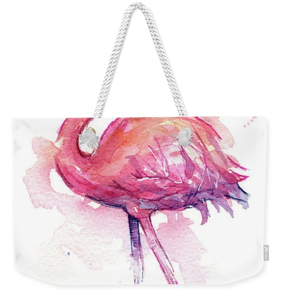 Pink Flamingo Watercolor Tropical Bird Weekender Tote Bag