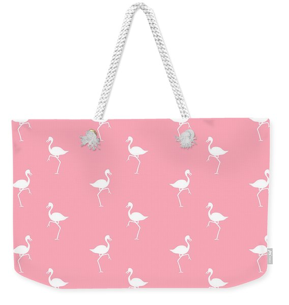 Pink Flamingos Pattern Weekender Tote Bag