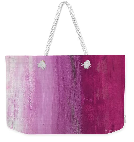 Weekender Tote Bag featuring the painting Pink Flow by Kim Nelson
