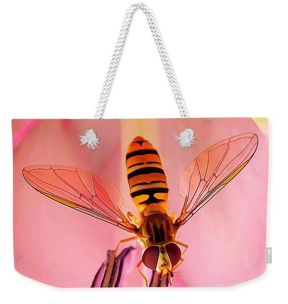 Pink Flower Fly Weekender Tote Bag