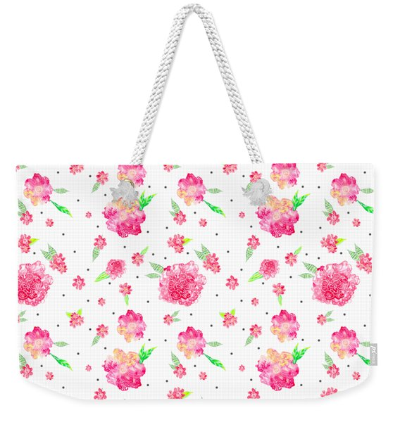 Pink Flower Pattern Weekender Tote Bag