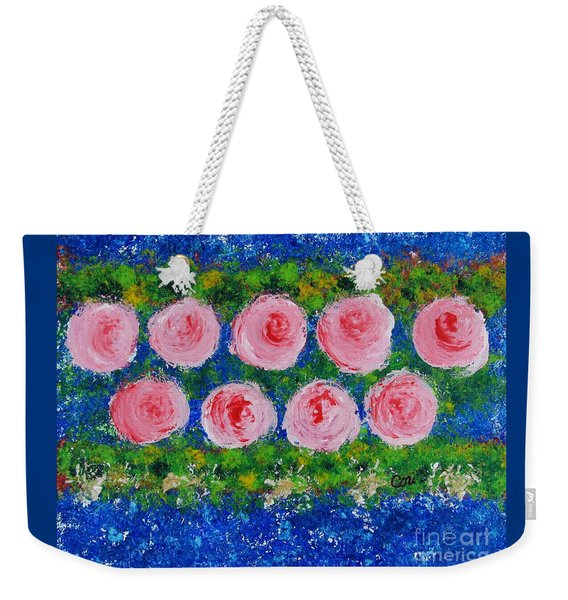 Pink Flowers On Green And Blue Weekender Tote Bag