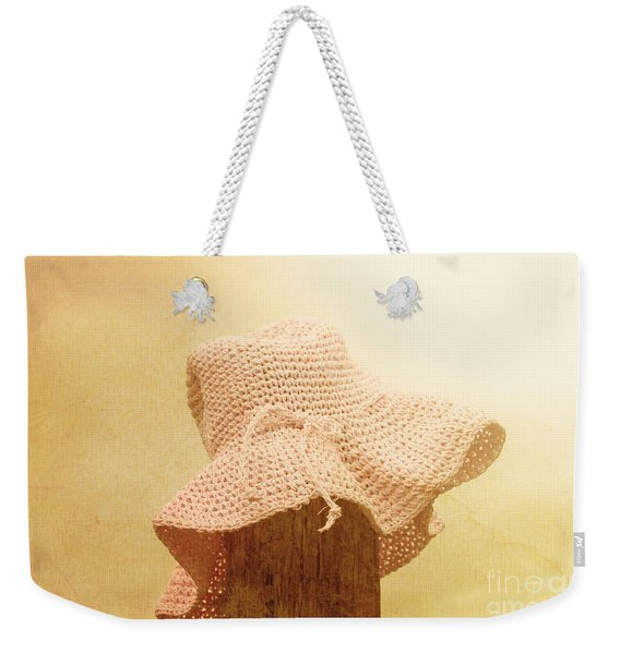 Pink Girls Hat On Farmyard Fence Post Weekender Tote Bag