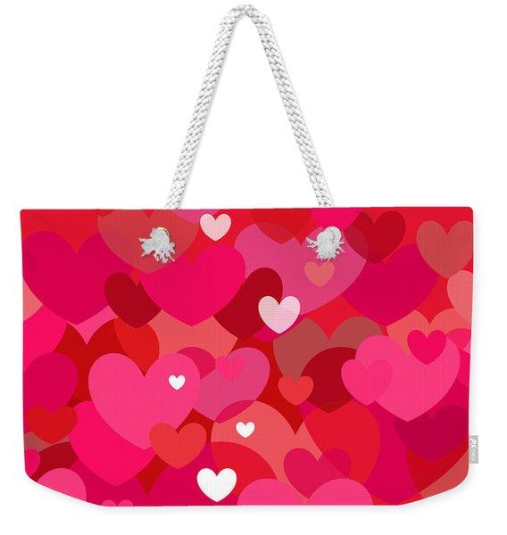 Pink Heart Abstract Weekender Tote Bag