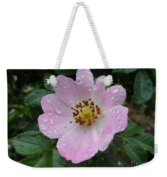 Pink Heart Petal Rose With Raindrops Weekender Tote Bag