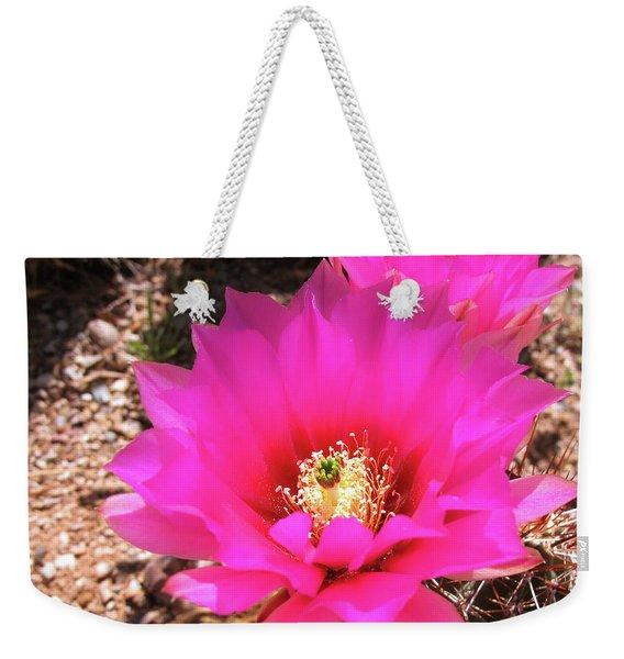 Pink Hedgehog Flower Weekender Tote Bag