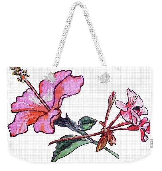 Pink Hibiscus And Geranium  Weekender Tote Bag