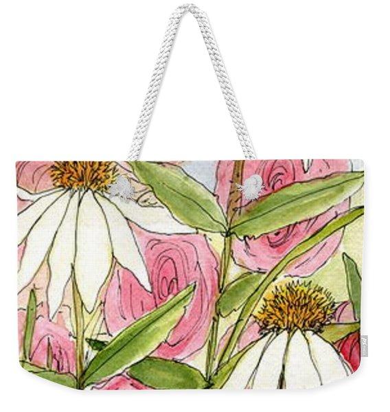 Pink Hollyhock And White Coneflowers Weekender Tote Bag