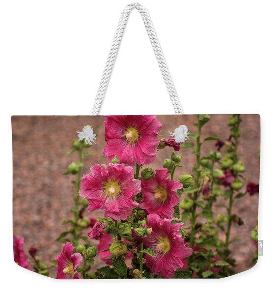 Pink Hollyhocks Weekender Tote Bag