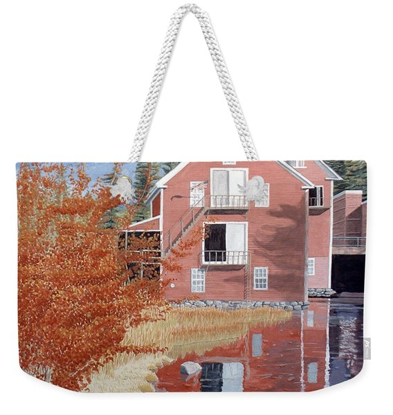 Weekender Tote Bag featuring the painting Pink House In Autumn by Dominic White