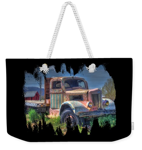 Classic Flatbed Truck In Pink Weekender Tote Bag