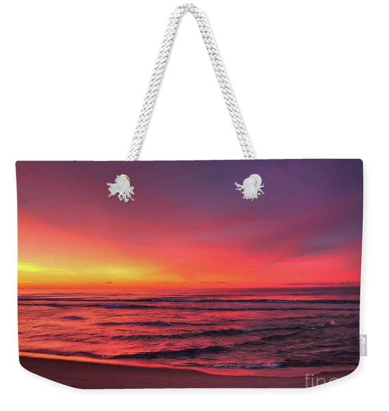 Pink Lbi Sunrise Weekender Tote Bag