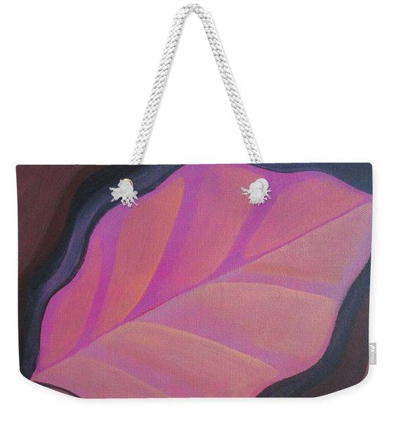 Pink Leaf Weekender Tote Bag