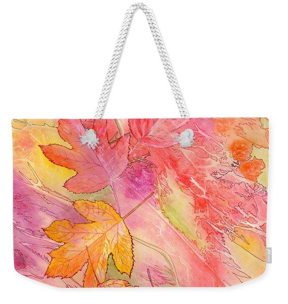 Weekender Tote Bag featuring the painting Pink Leaves by Nancy Cupp
