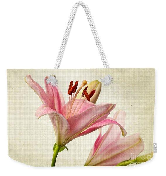 Pink Lilies Weekender Tote Bag