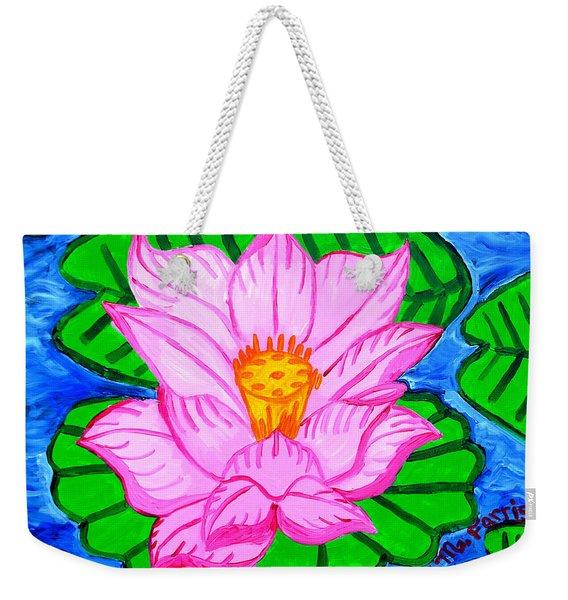 Pink Lotus Flower Weekender Tote Bag