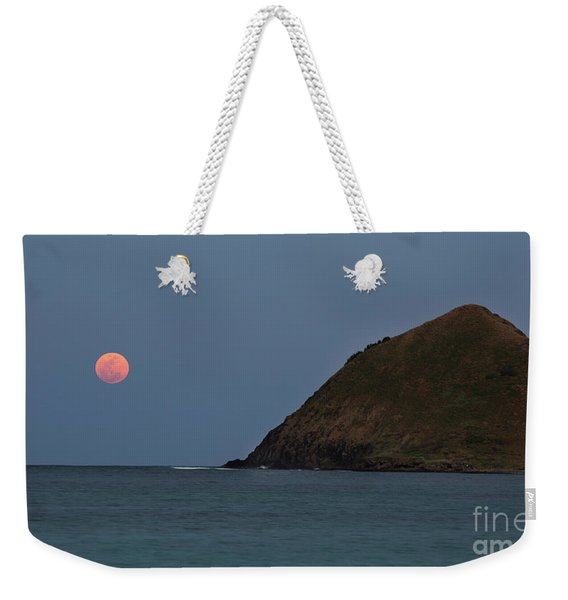 Weekender Tote Bag featuring the photograph Pink Moon And Moku Iki by Charmian Vistaunet