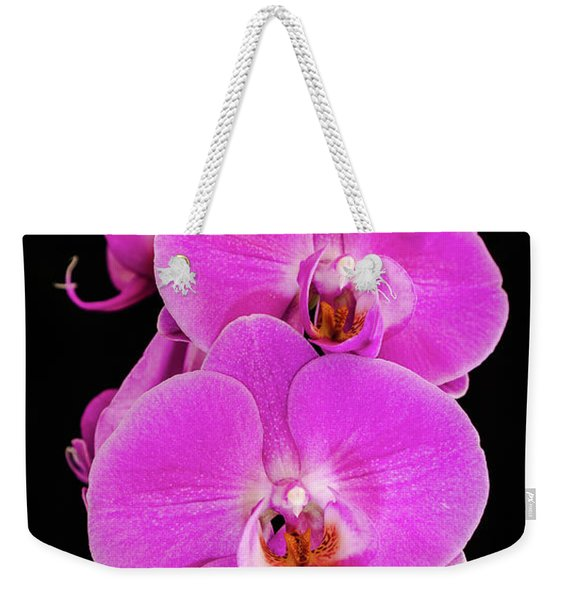 Pink Orchid Against A Black Background Weekender Tote Bag