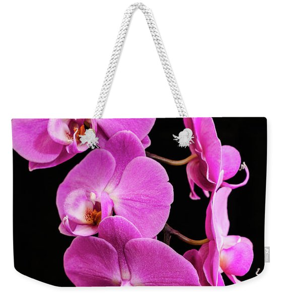 Pink Orchid With Black Background Weekender Tote Bag