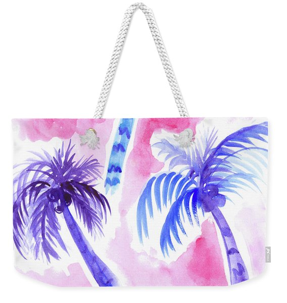 Pink Palm Trees Weekender Tote Bag