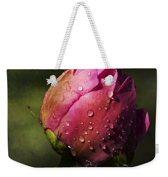 Pink Peony Bud With Dew Drops Weekender Tote Bag