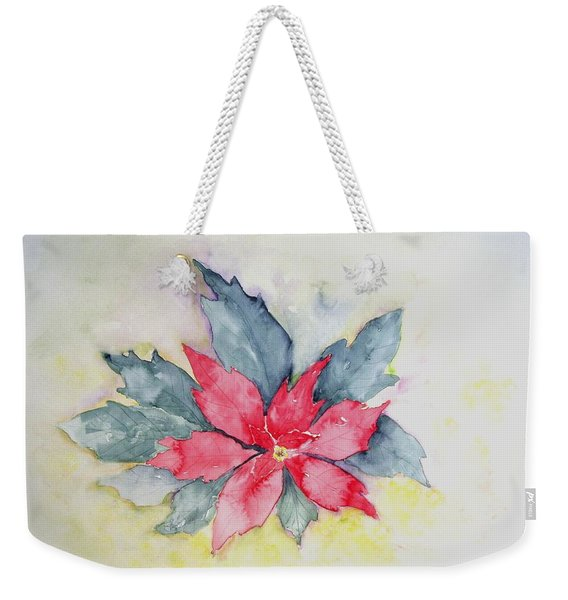 Pink Poinsetta On Blue Foliage Weekender Tote Bag