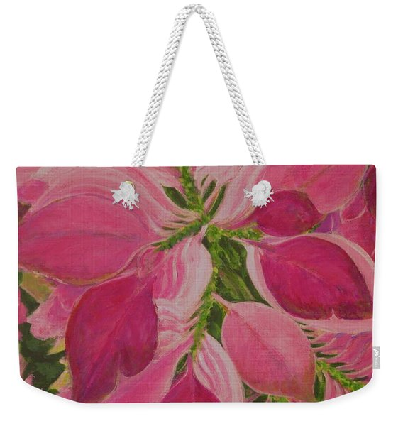 Pink Poinsettia Weekender Tote Bag