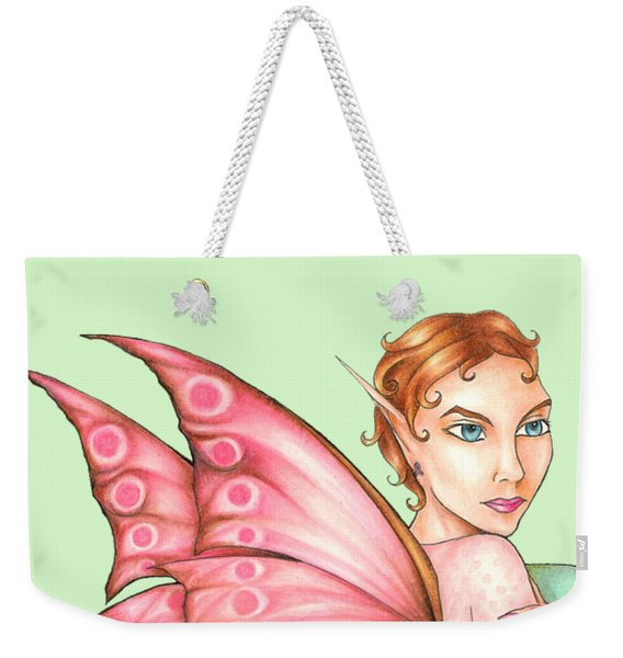 Weekender Tote Bag featuring the drawing Pink Ribbon Fairy For Breast Cancer Awareness by Kristin Aquariann