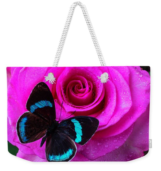 Pink Rose And Black Blue Butterfly Weekender Tote Bag