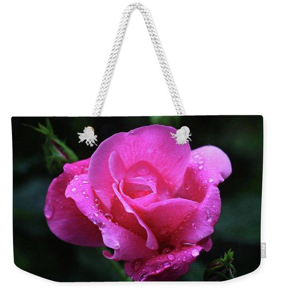 Pink Rose With Raindrops Weekender Tote Bag