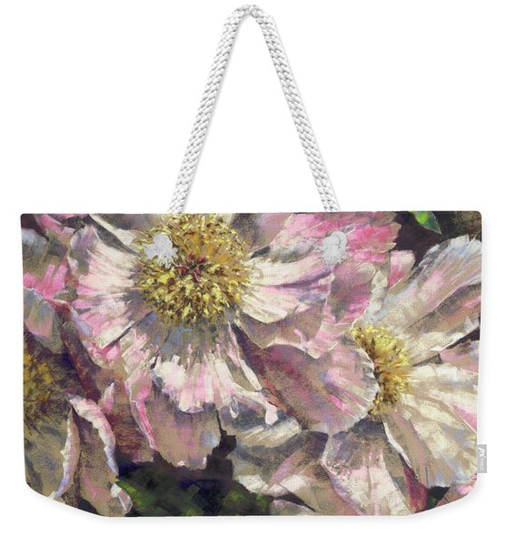 Pink Single Peonies Weekender Tote Bag