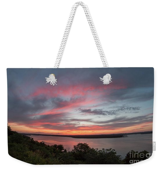 Pink Skies And Clouds At Sunset Over Lake Travis In Austin Texas Weekender Tote Bag