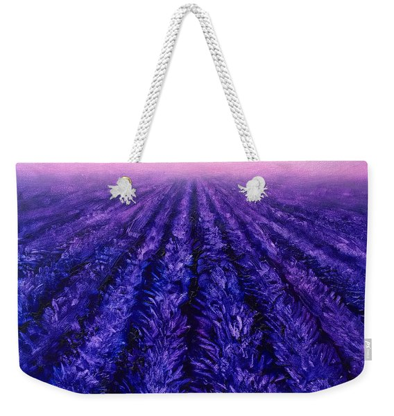 Abstract Lavender Field Landscape - Contemporary Landscape Painting - Amethyst Purple Color Block Weekender Tote Bag