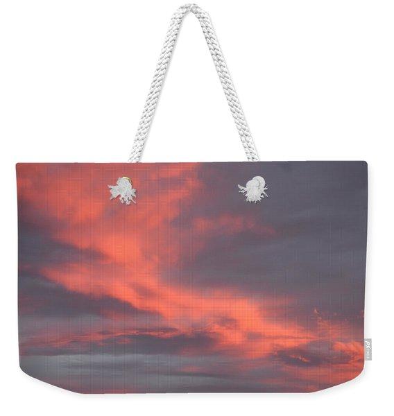 Weekender Tote Bag featuring the digital art Pink Clouds In The Sky by Margarethe Binkley