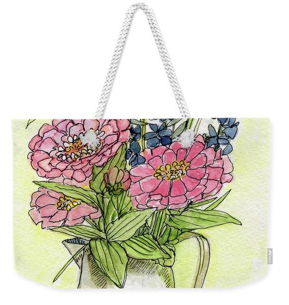 Pink Zinneas Weekender Tote Bag