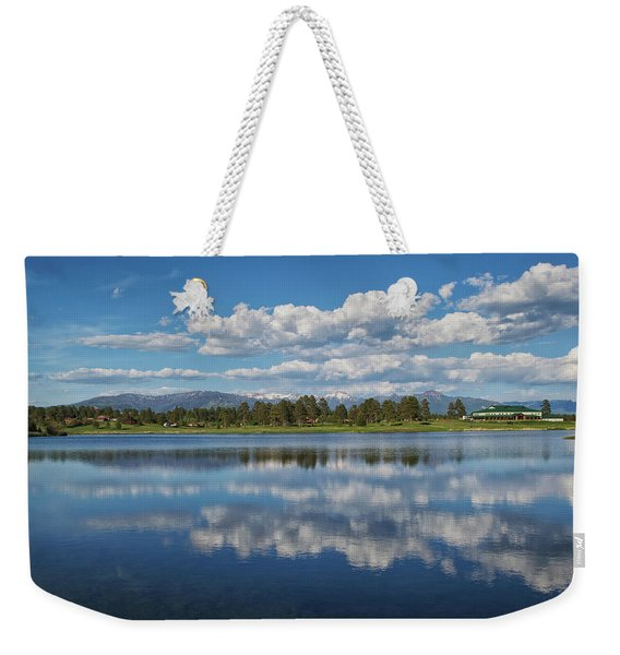 Weekender Tote Bag featuring the photograph Pinon Lake Reflections by Jason Coward