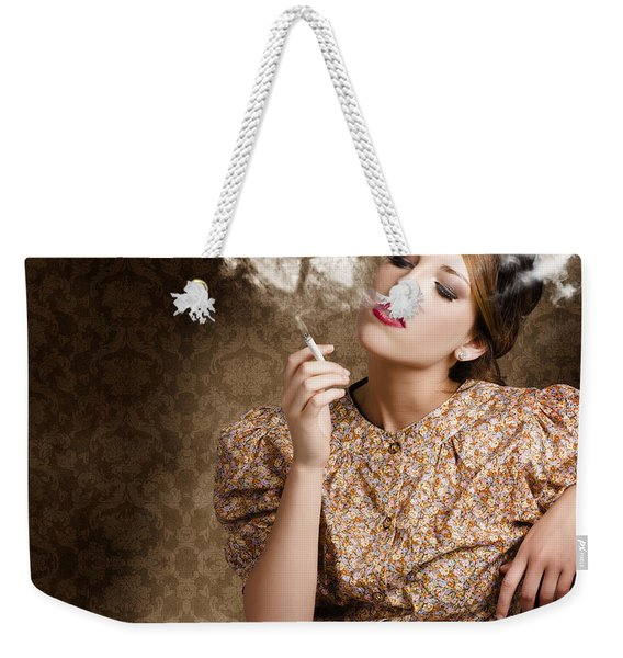 Pinup Portrait Of A Smoking Woman Blowing Hearts Weekender Tote Bag