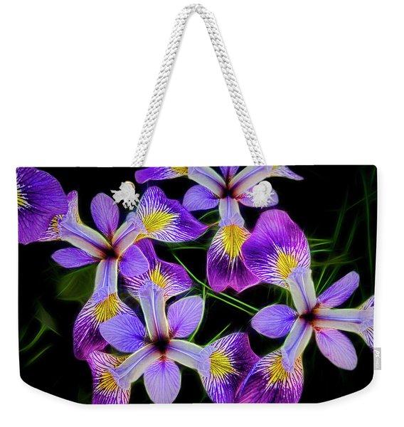 Pinwheel Purple Iris Glow Weekender Tote Bag