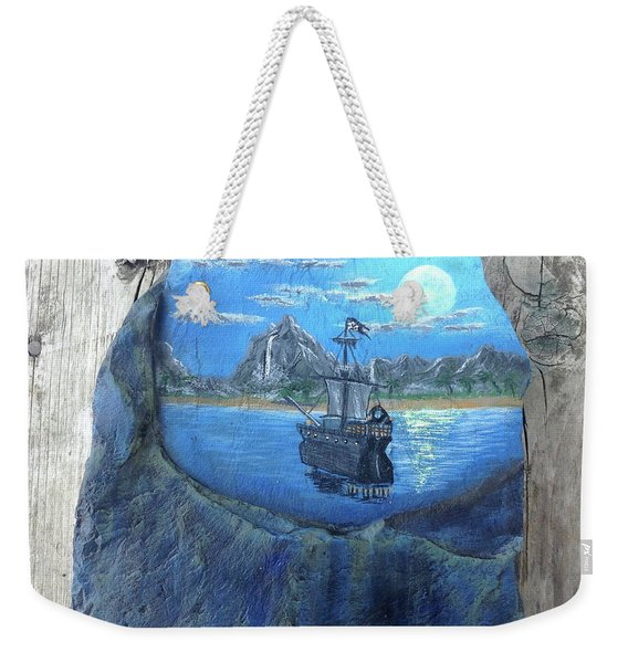 Pirate Ship Rock Painting Weekender Tote Bag