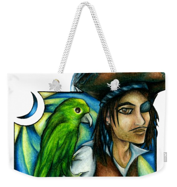 Weekender Tote Bag featuring the drawing Pirate With Parrot Art by Kristin Aquariann