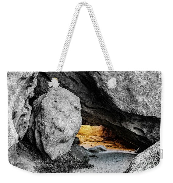 Pirate's Cave, Black And White And Gold Weekender Tote Bag