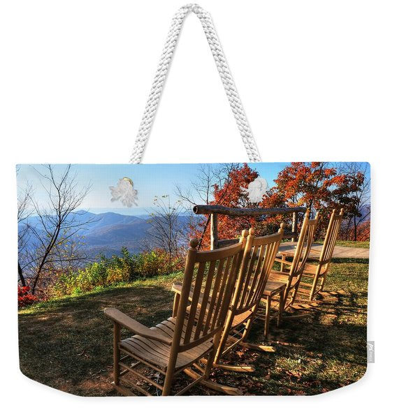 Pisgah Inn's Rocking Chairs Weekender Tote Bag