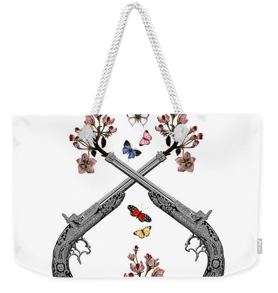 Pistols Wit Flowers And Butterflies Weekender Tote Bag